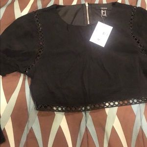 Lace woven crop top & skirt set